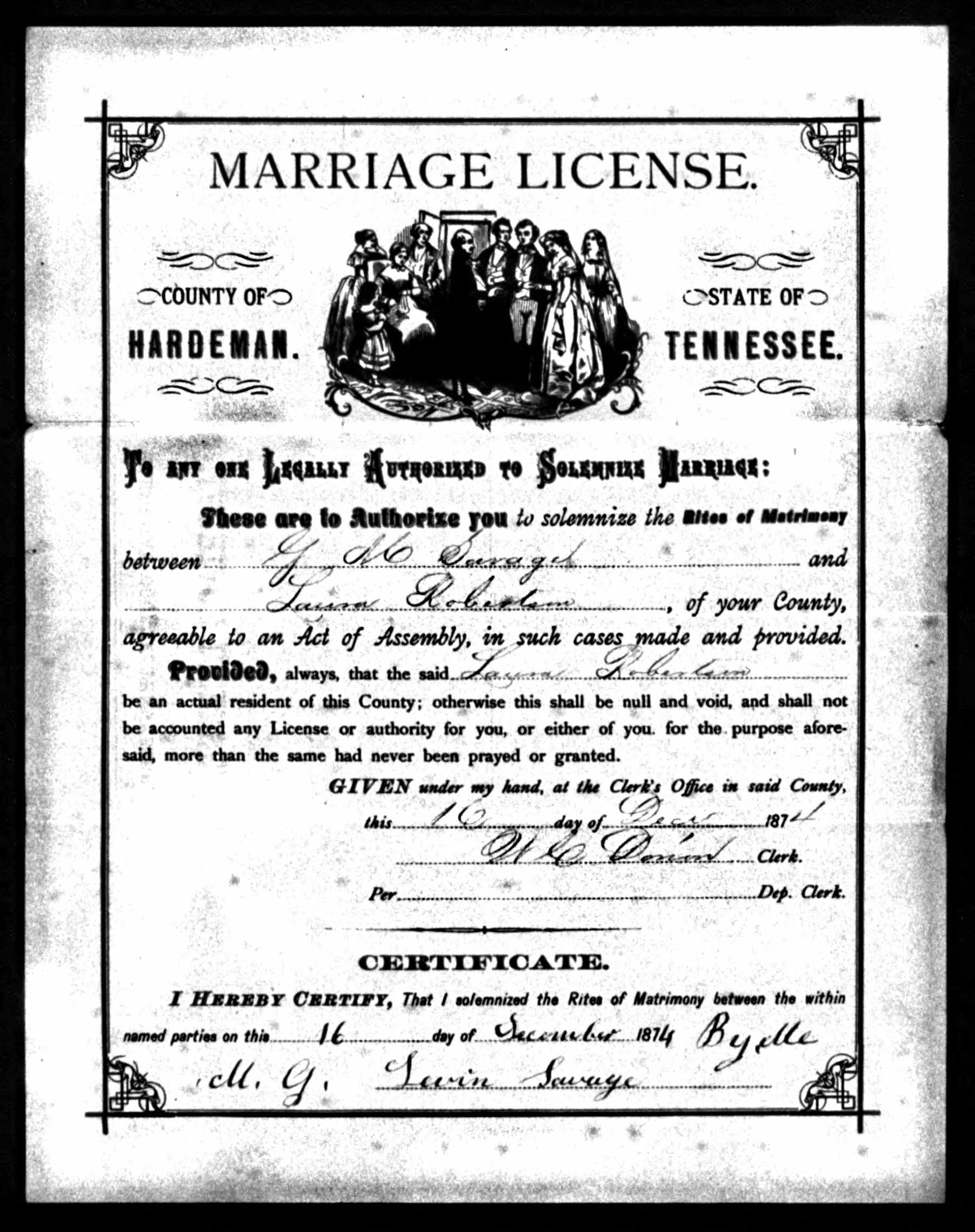 Giles Monroe Savage and Laura Robertson Savage 1874 Marriage License