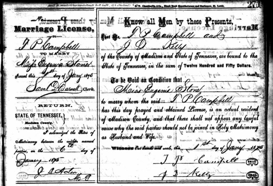 Marriage License for T.P. Campbell and Miss Eugenia Stone - 1875